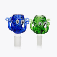 14mm 18mm 보 울 유리 문 어 스타일 두꺼운 Pyrex 유리 그릇 다채로운 파란색과 녹색 허브 물 봉 볼링 흡연에 대 한