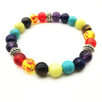 Mode Heißer Verkauf 7 Chakra Mixed Stone Healing Chakra Beten Mens Frauen Hologramm Armband DIY Perlen Schmuck Balancing Armbänder