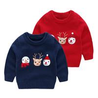 Çocuk Çirkin Noel Kazak Toddler Boy Çocuk Giyim Çocuk Tasarımcısı Giyim Merry Christmas Ren Geyiği Kardan Adam 6 adet / grup