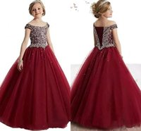 New Arrival 2018 Burgundy Girl' s Pageant Dresses Off Sh...