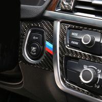 Carbon Fiber автомобилей Стайлинг Запуск двигателя стопорное кольцо M нашивки Обрезка Круг Ключ зажигания Кольца для бмв 3 4 серии 3GT F30 F31 F32 F34