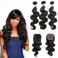 Högkvalitativ kroppsvåg Mänskliga hårbuntar med stängningsklass 9A Brasiliansk Virgin Hair Weave 3 buntar med 4 * 4 spetslåsningstillägg