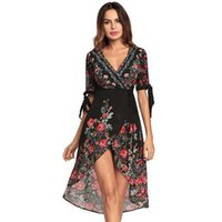 2018 Spring Bohemian Print Dress V- Neck Chiffon Dress Beach ...