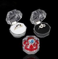 مجوهرات حزمة صناديق حلقة حامل القرط عرض مربع الاكريليك حالات تخزين الزفاف شفافة