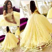 아랍 두바이 공 가운 Quinceanera Dresse 3D 꽃 Applique Prom Dresses 이브닝 파티 드레스 오프 - 구멍에서 공식 행사 유명인 드레스