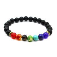 Mens Beads Buddha Charm Bracelet Roxo Colorido Preto Lava Pedra Natural Yoga Holograma 7 Chakra Pulseira Para As Mulheres