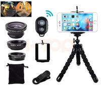 Kit de lentes de cámara para el teléfono 7in1 Fisheye Gran Angular Lentes Macro para iPhone Smartphone Bluetooth Obturador Selfie stick Mini Trípode
