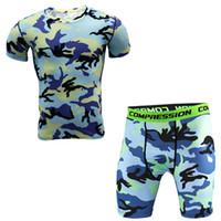 Dlixzi 2 Pezzi Uomo T Shirt E Collant Compressione Set Fitness Workout Camouflage 3d Stampa Mma Rashguard Crossfit Palestre Abbigliamento