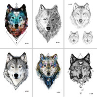 WYUEN Hot Design Wolf Temporary Tattoo for Women Body Art An...