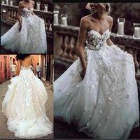 New Sweetheart Neck Wedding Dresses White Appliques 3D Flowe...