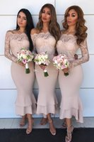 Cheap Off Shoulder Country Bridesmaid Dresses With Long Slee...