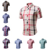 Mens Short Sleeve Shirts Classic 16 Colors England Plaid Shi...