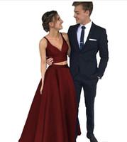 2018 новые две части платья выпускного вечера спагетти линия атласная длинные королевские синие черные вечерние платья с карманами