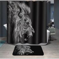 Bester schwarzer wasserdichter Stoff Badezimmer Vorhang Benutzerdefinierte Duschvorhang Intimes Design Tier Afrikanische Löwen Duschvorhang und Matte Set