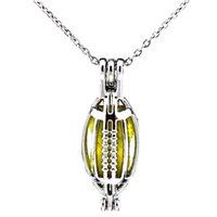 Prata Esporte Futebol Americano Rugby Oco Difusor de Óleo Medalhão Mulheres Aromaterapia Beads Pérola Ostra Gaiola Colar Pingente-Boutique presente