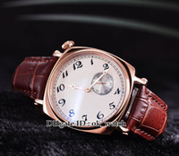 relógio de alta qualidade 1921 homens automáticos Historiques americanos Watch Dial Branco 82035 / 000R-9359 Correia de couro rosa de ouro Gents Novos Relógios