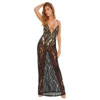Sexy Women Maxi Dress Lace Hollow Out Deep V Neck Sleeveless Spaghetti  Strap Slim Long Dress Black White Sheer Mesh Beach Dress b3c227877a09