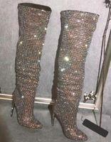 Сексуальный блеск горный хрусталь пробурено над коленом сапоги женщины тонкий высокий каблук сапоги острым носом дамы Bling Bling Кристалл бедра