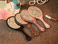 10PCS/LOT Vintage Restoring ancien Plastic  Mirror Cute Girl Hand Make Up Mirror Black,Pink,Gold ,Bronze