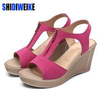 Frauen Schuhe Lakeshi Casual Frauen Sandalen Creepers Keil Sandalen Flache Plattform Schuhe Sommer Frauen Schuhe Wildleder Peep Toe Damen Sandalen 2018 Schuhe