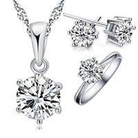 Giemi Hot Woman's Birthday Gift Set di gioielli da sposa Fashion Solid 925 Sterling Silver Crystal Necklace Ring 3 pezzi / set