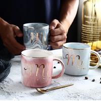 Caneca de Cerâmica de mármore Copo de Café Criativo Multi Cor Mr And Mrs Copos de Chá 13 23se C R