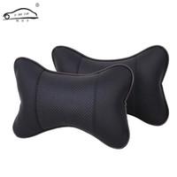 2 ADET PU deri Sıcak araba koltuğu kafalık delik kazma kış araba kafalık deri oto malzemeleri boyun kafalık Oto emniyet