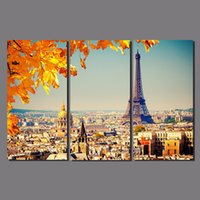 3 pieces canvas painting Paris cityscape canvas poster print...