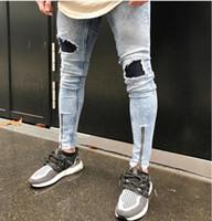 Moda Erkekler Skinny Pileli Yırtık Kot Hi-Sokak Fold Denim Tasarımcı Jogging Yapan Diz Delik fermuar tarzı Kalem Kot Biker Pantolon