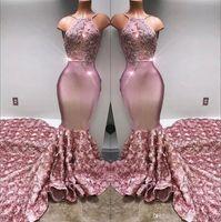 2020 satin Halter sirène longues robes de bal 3D Jupe Rose Applique dentelle perlée partie formelle Robes de soirée image BA7797 réel