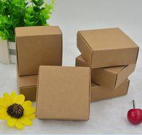 الجملة 7.5x7.5x3 سنتيمتر البني الصغيرة كرافت ورقة مربع كرتون صناديق التعبئة ل هدايا الزفاف كاندي الهاتف شحن مجاني