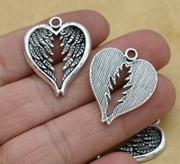 Di trasporto 100pcs / lotto argento antico placcato le ali di angelo del cuore della lega incanta i pendenti per gioielli e accessori che rendono a risultati 22x16mm