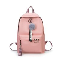 Fashion New Women Casual Canvas Backpack Hairball Ribbon Stu...