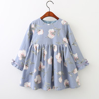 Girls Dress Autumn Winter Fashion Long Sleeve Floral Princes...