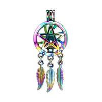 10 adet / grup Gökkuşağı Renk Rüya Catcher Pentagram Yıldız Boncuk Kafes Locket Kolye Difüzör Aromaterapi Parfüm Uçucu Yağlar Difüzör
