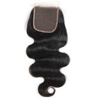 Brazillian Virgin Body Wave Hair 4x4 Lace closure 100% sin procesar brasileña peruana Indian Malaysian Virgin Human Hair onda del cuerpo CLOSURE