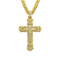 Золотые серебристые мужчины хип хмель завещают крест кулон ожерелья с 76см цепь ссылки ожерелье, смешанные брюки ювелирные изделия Быстрая бесплатная доставка
