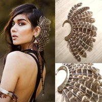 África Nuevo Único Unisex Gran Pluma Ear Cuff Non Piercing Ear Cuff Gold Feather Ear Clip On Pendientes Para Mujeres / Hombres