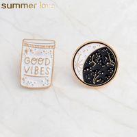 Boas Vibes Enamel Pin Constellation Day e Night Lua Brooch Pins Botão Denim Casaco Casaco Revestimento Pin Badge Jóias Presente
