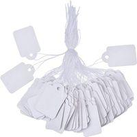 SF 100pcs / lot blank bianco prezzo tag tag marcatura di carta gioielli abbigliamento prezzo etichette prodotti Visualizza tag con sospensione String 1.2 * 2.5 cm