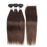 Beso Color de cabello 4 Cabello recto de chocolate marrón 3 paquetes con cierre de encaje Crudo Virgin Indian Remy Human Hair Extensions