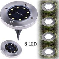 Açık Yolu Bahçe Çim Peyzaj Dekorasyon Lambası için Zemin Yeraltı Işık Gömülü Güneş Enerjili 4LED 8 LED Aydınlatma