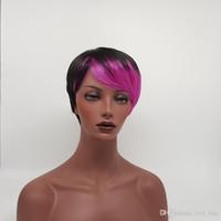 XT-852A мода естественный цвет смешивания короткие прямые волосы девственницы парик синтетические волосы парик для черных белых женщин двойного назначения парик высокой тепла волокна