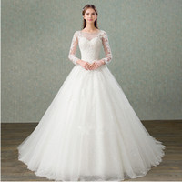 Bateau Neck Tulle A linha de vestidos de noiva com mangas compridas 2019 Lace apliques vestidos de casamento Lace Up Voltar