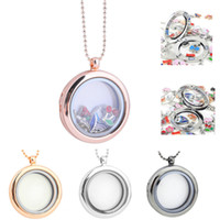 30MM Floating Lockets Necklaces Circular Glass Locket Pendan...