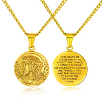"""Christian serenity oração colar de aço inoxidável virgem maria / jesus christ medalha pingente de colar com 24 """"cadeia para homens mulheres"""