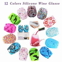 12 Colors Silicone Stemless Wine Glasses Print Army Lip Bohe...