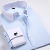 Nuevo mens de lujo Slim Fit con estilo Formal mangas largas tiras de algodón francés cuff camisas de vestir 6347