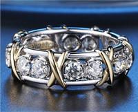 Modeschmuck Eternity Ring 3mm Edelstein 5A Zircon Stein 10KT Gelb Weißgold gefüllt Frauen Engagement Ehering Ring