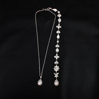 Flor de cristal de lujo de plata larga cadena Backdrop collar Rhinestone colgante nupcial collar Beach Summer Dress accesorios JCK003